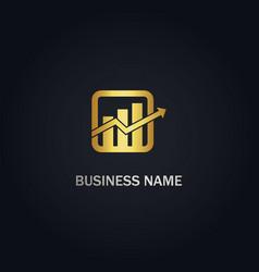 business arrow graph gold logo vector image