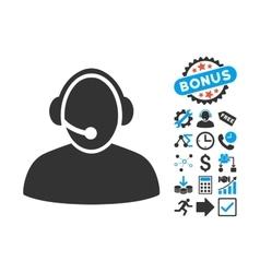 Call Center Flat Icon with Bonus vector image