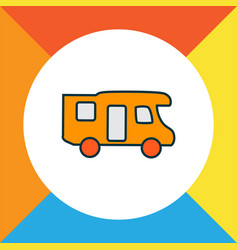 Campervan icon colored line symbol premium vector