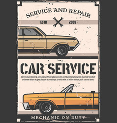 Car service and maintenance retro poster vector