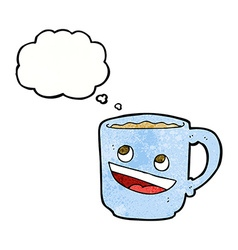 cartoon coffee mug with thought bubble vector image