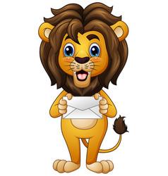 Cartoon lion holding envelope vector
