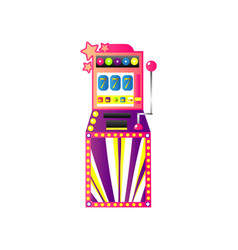 Casino slot game machine with gold crown and seven vector