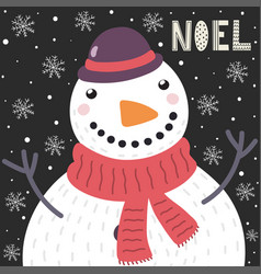 christmas card with a cute snowman in the snow and vector image