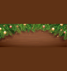 christmas fir tree on wooden background with copy vector image