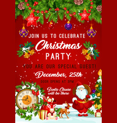 Christmas party new year invitation poster vector
