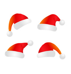 christmas santa claus hats vector image