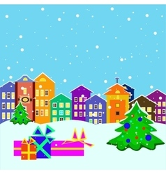 Christmas town with presents and tree vector