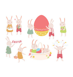 collection cute easter rabbits or bunnies vector image
