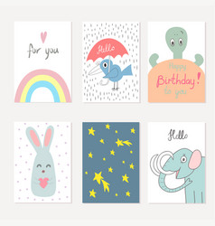 collection of cute artistic cards for kids vector image