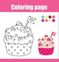 Coloring page with cupcake drawing kids game vector