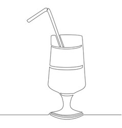 continuous line drawing glass of cocktail vector image