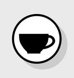 cup sign flat black icon in white circle vector image