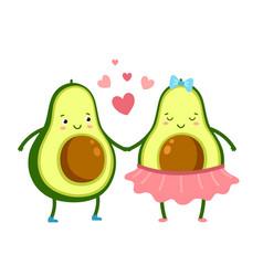 Cute avocado in love green fruits couple vector