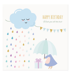 Cute birthday card with little girl and colorful vector