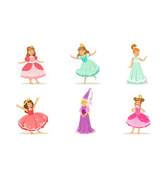 cute girls in image princesses vector image