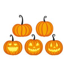 Cute halloween pumpkins vector
