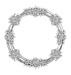 daisy flowers circle frame vector image