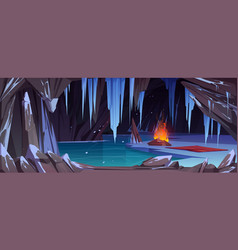 dark ice cave in mountain with bonfire vector image