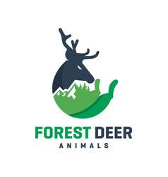 deer mountain animal design logo vector image