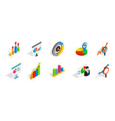 diagram icon set isometric style vector image