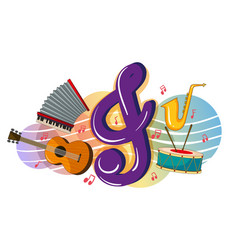 different musical instruments on poster vector image