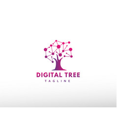 Digital tree logo tech tree logo creative tree vector