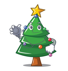 Doctor christmas tree character cartoon vector