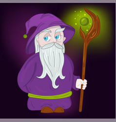 druid character with hat and staff vector image