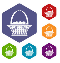 Easter basket icons set hexagon vector