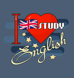 English language concept flag heart and vector