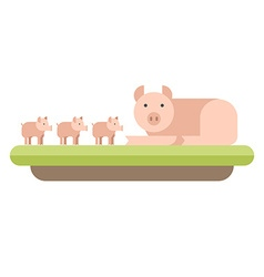 Farm animal Pig with piglets flat style vector