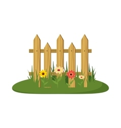 Fence with flowers icon cartoon style vector image
