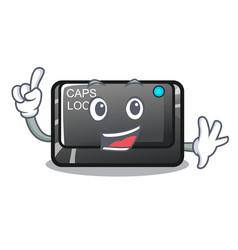 Finger capslock button isolated with cartoon vector