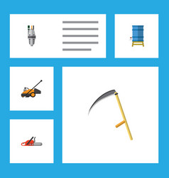 flat icon dacha set of hacksaw lawn mower pump vector image