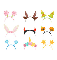 flat set of festive hair hoops cute head vector image