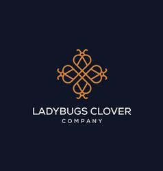 Four clover leaf combined with ladybug logo design vector
