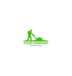 Gardener mowing lawn mower logo design vector