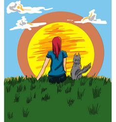 Girl and a dog looking at the sunset vector