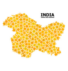 Gold rotated square mosaic map jammu and vector