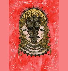 grunge watercolor of creepy skull vector image