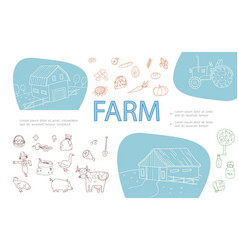 hand drawn farm monochrome icons set vector image
