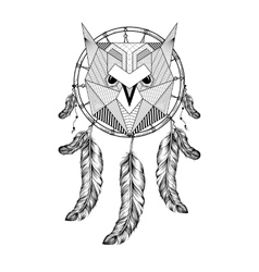 Hand drawn zentangle Owl Bird on Dream catcher vector image vector image
