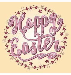 Happy Easter card hand lettering vector image