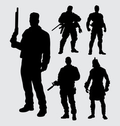 Hero with gun silhouette vector
