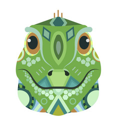 Iguana head logo lizard decorative emblem vector