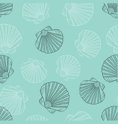 In sketch style sea shell pattern vector