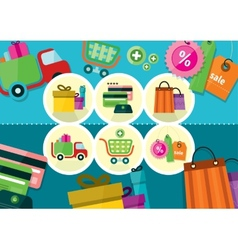 Internet shopping process and delivery icons vector image