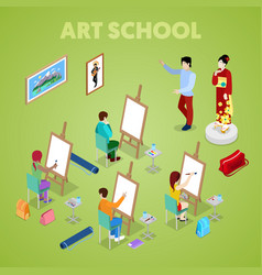 isometric art concept class with students painter vector image