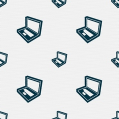 Laptop icon sign Seamless pattern with geometric vector image